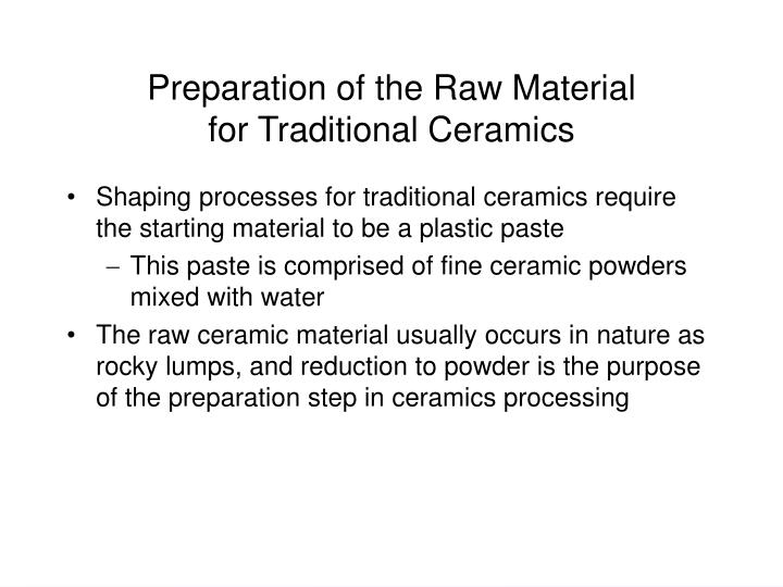 Preparation of the Raw Material