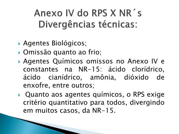 Anexo IV do RPS X