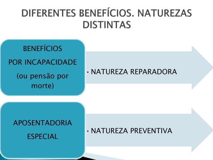 DIFERENTES BENEFÍCIOS. NATUREZAS DISTINTAS
