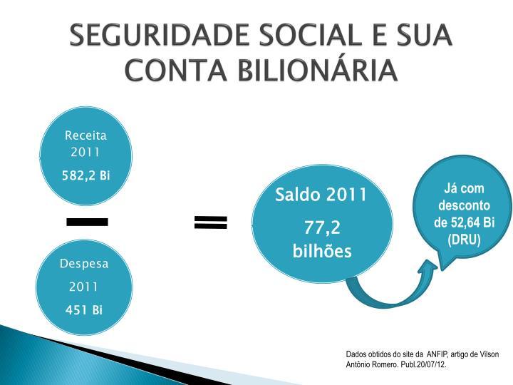 SEGURIDADE SOCIAL E SUA CONTA BILIONÁRIA