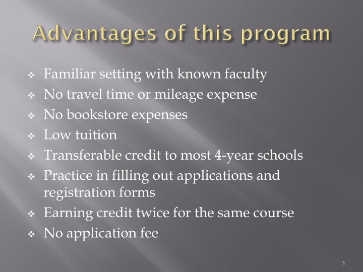 Advantages of this program