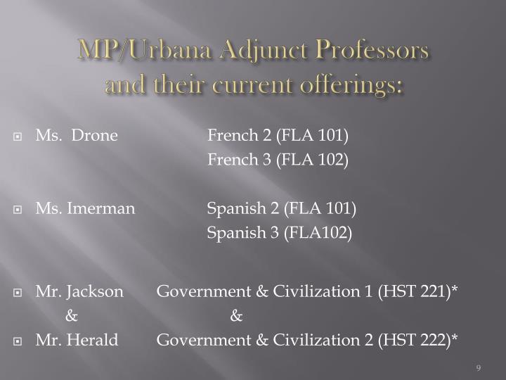 MP/Urbana Adjunct Professors