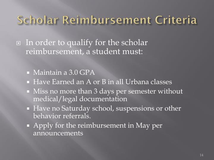 Scholar Reimbursement Criteria