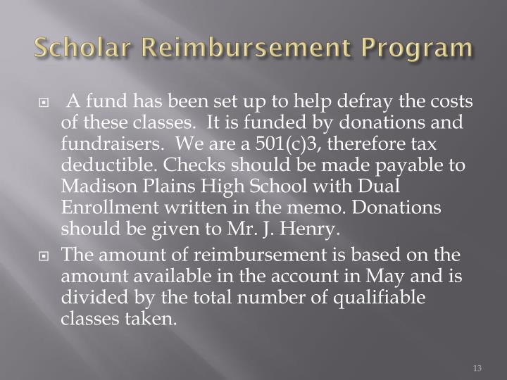 Scholar Reimbursement Program