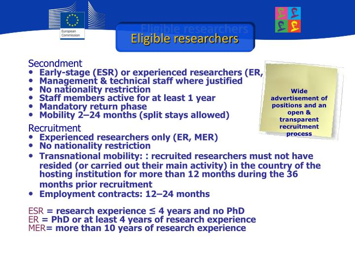 Eligible researchers