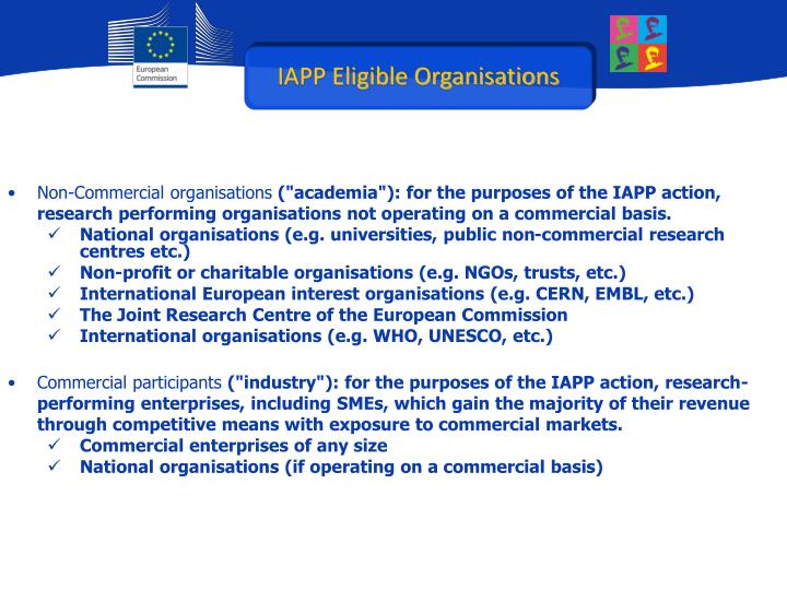 IAPP Eligible Organisations