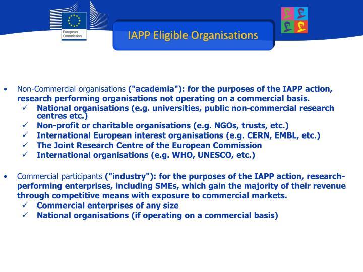 IAPP Eligible Organisations