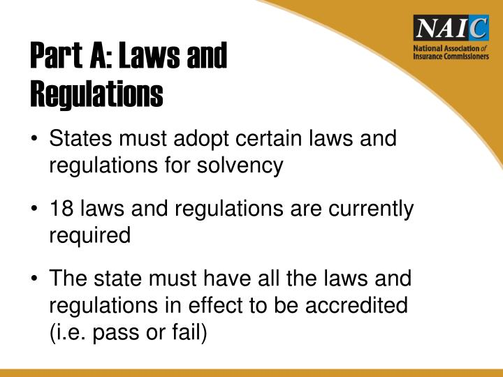 Part A: Laws and Regulations