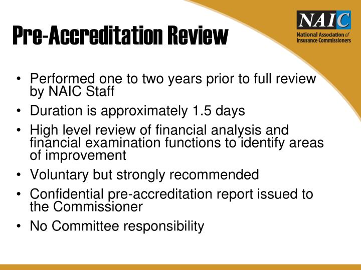 Pre-Accreditation Review
