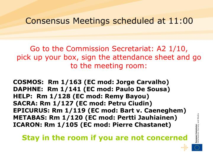 Consensus Meetings scheduled at 11:00