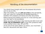 handling of the documentation