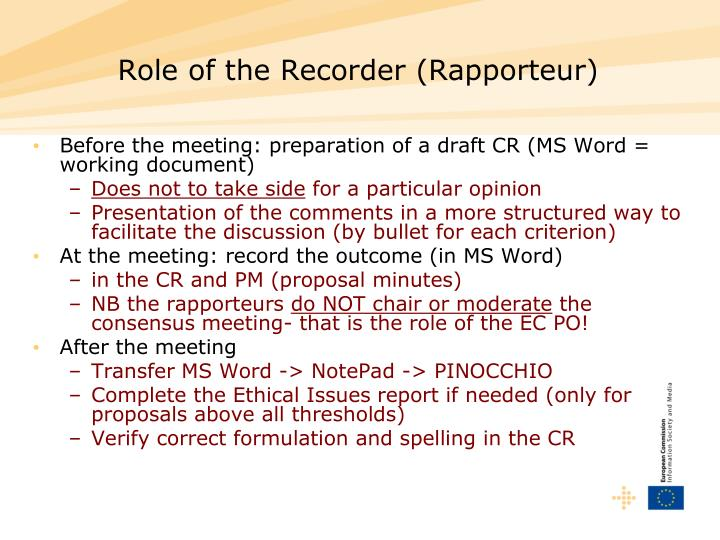 Role of the Recorder (Rapporteur)