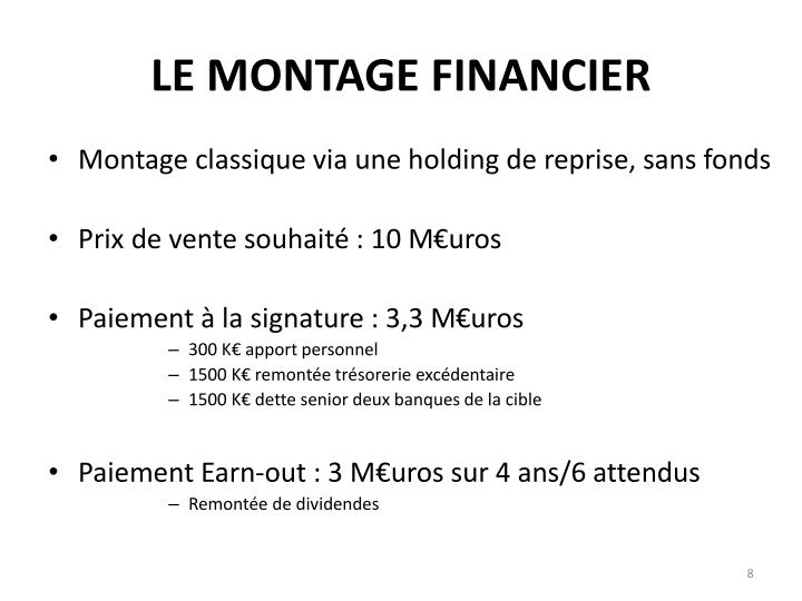 LE MONTAGE FINANCIER