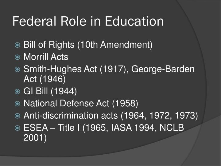 Federal role in education
