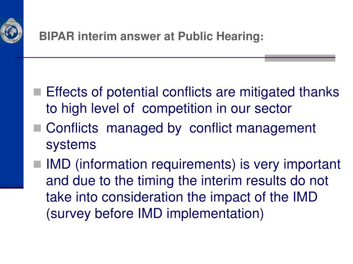 BIPAR interim answer at Public Hearing