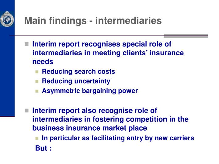 Main findings - intermediaries