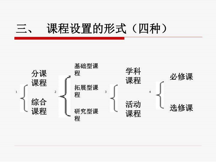 三、  课程设置的形式(四种)