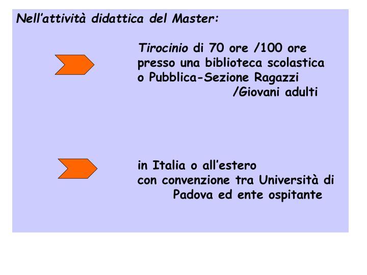 Nell'attività didattica del Master: