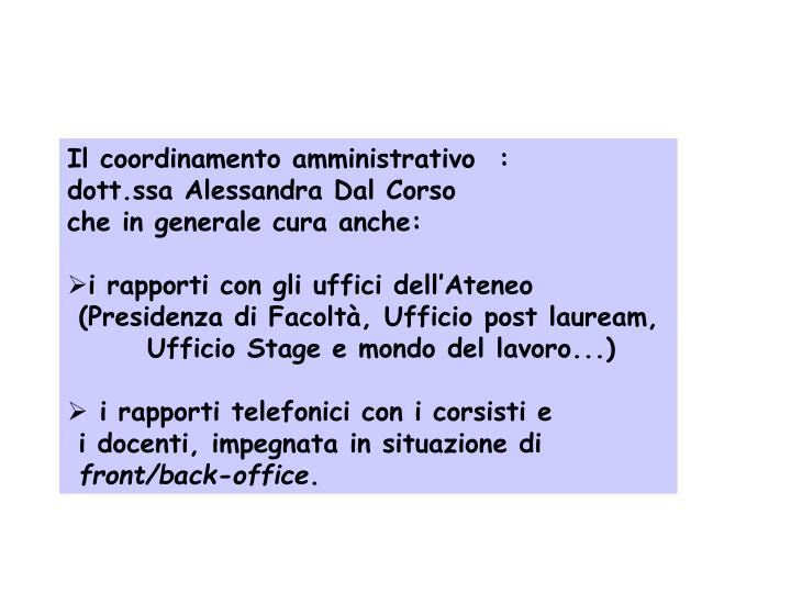 Il coordinamento amministrativo  :