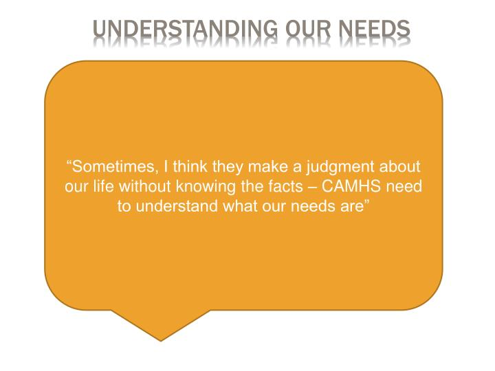 Understanding our needs