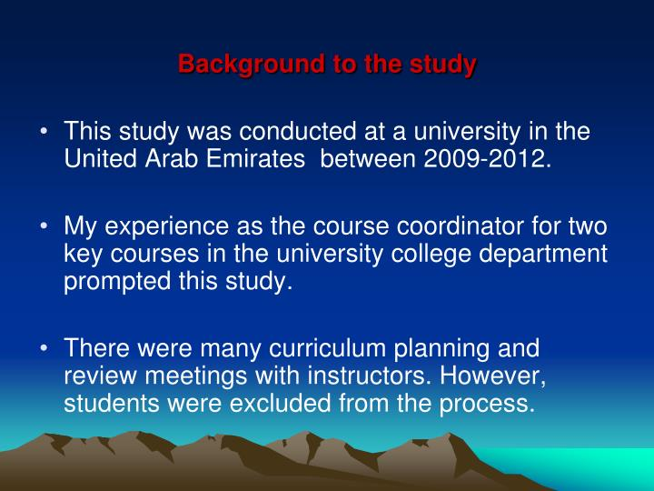 Background to the study