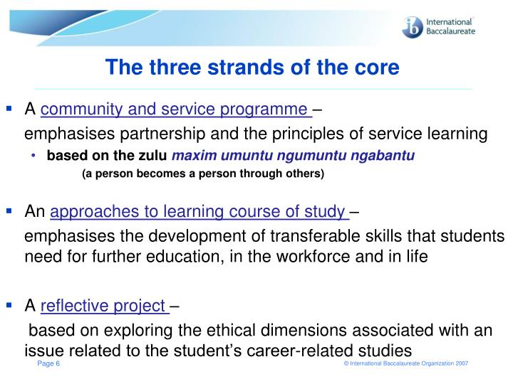 The three strands of the core
