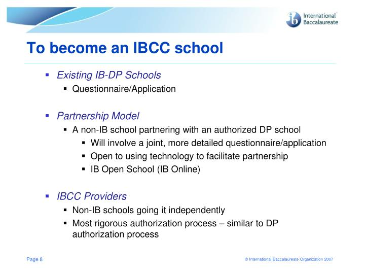 To become an IBCC school