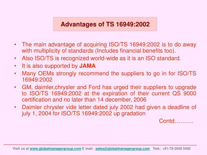 Advantages of TS 16949:2002