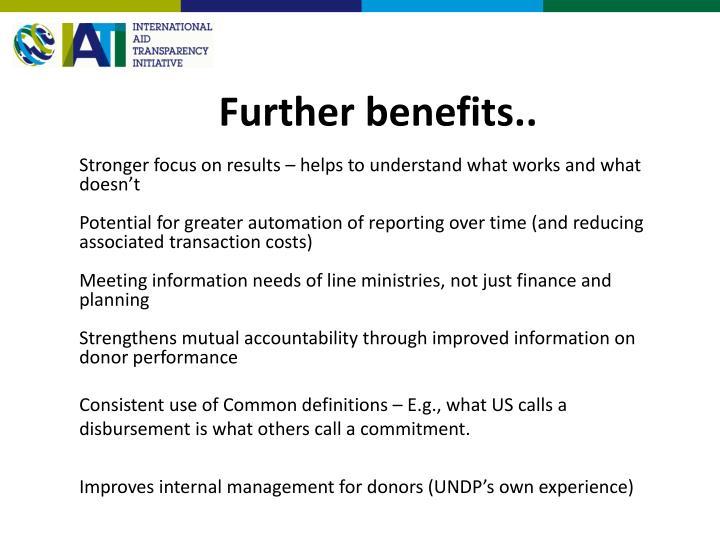 Further benefits..