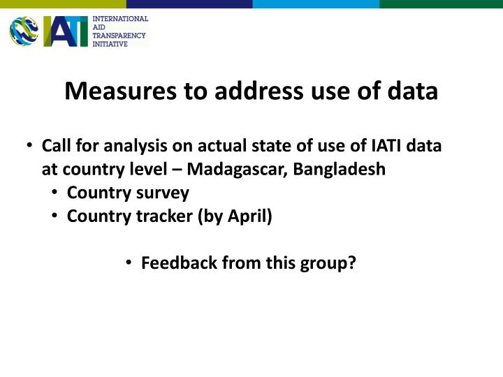 Measures to address use of data