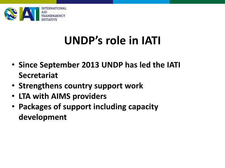 UNDP's role in IATI