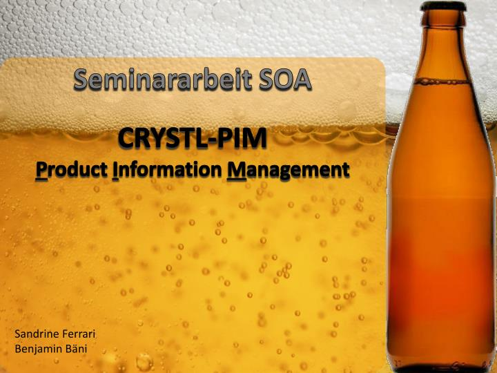 Seminararbeit soa crystl pim p roduct i nformation m anagement