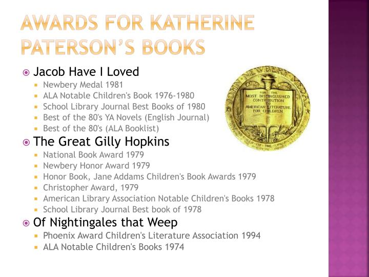 Awards for Katherine Paterson's books