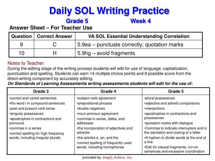 Answer Sheet – For Teacher Use
