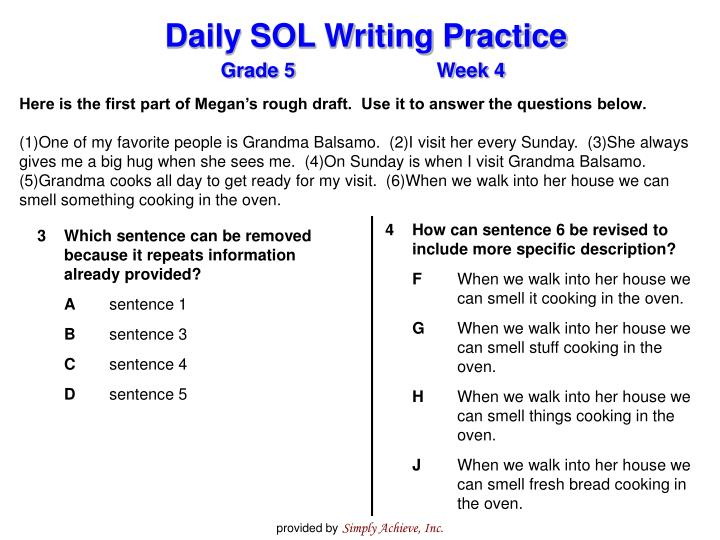 Here is the first part of Megan's rough draft.  Use it to answer the questions below.