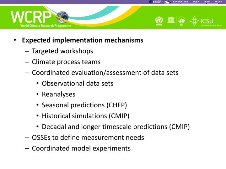 Expected implementation mechanisms