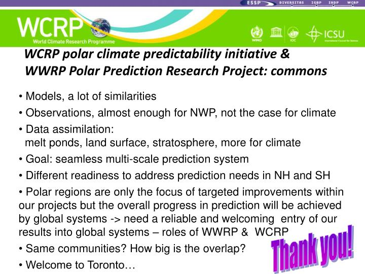 WCRP polar climate predictability initiative &