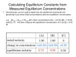 calculating equilibrium constants from measured equilibrium concentrations1