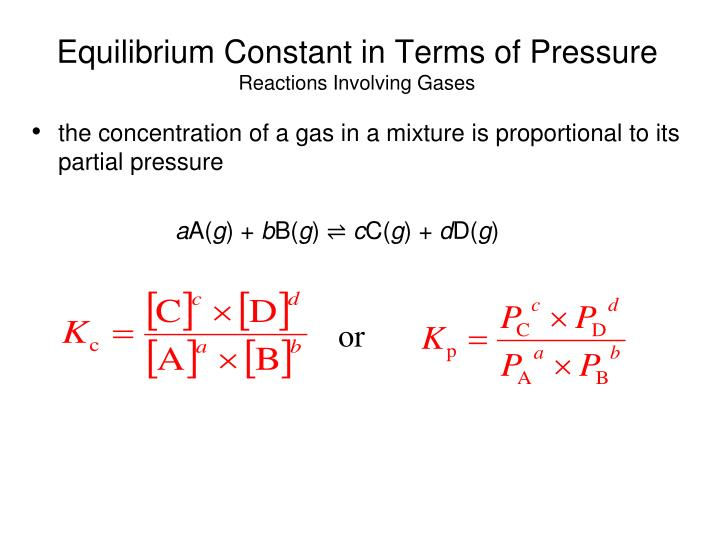 Equilibrium Constant in Terms of Pressure