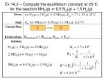 ex 14 2 compute the equilibrium constant at 25 c for the reaction nh 3 g 0 5 n 2 g 1 5 h 2 g