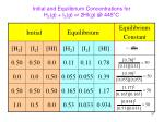 initial and equilibrium concentrations for h 2 g i 2 g 2hi g @ 445 c