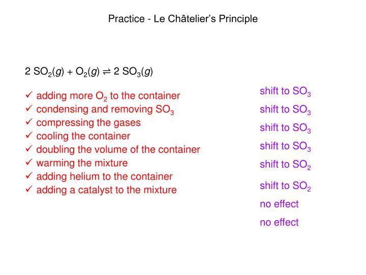 Practice - Le Châtelier's Principle