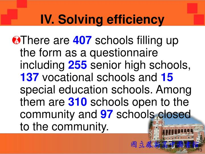 IV. Solving efficiency