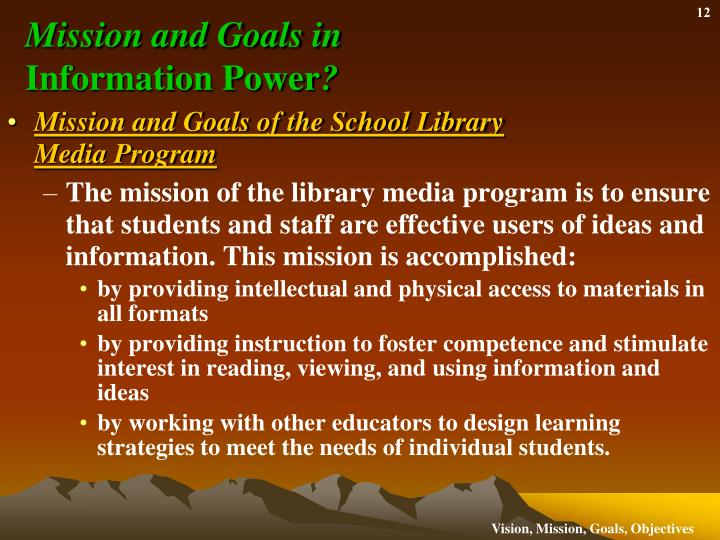 Mission and Goals in