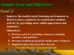 sample goal and objectives