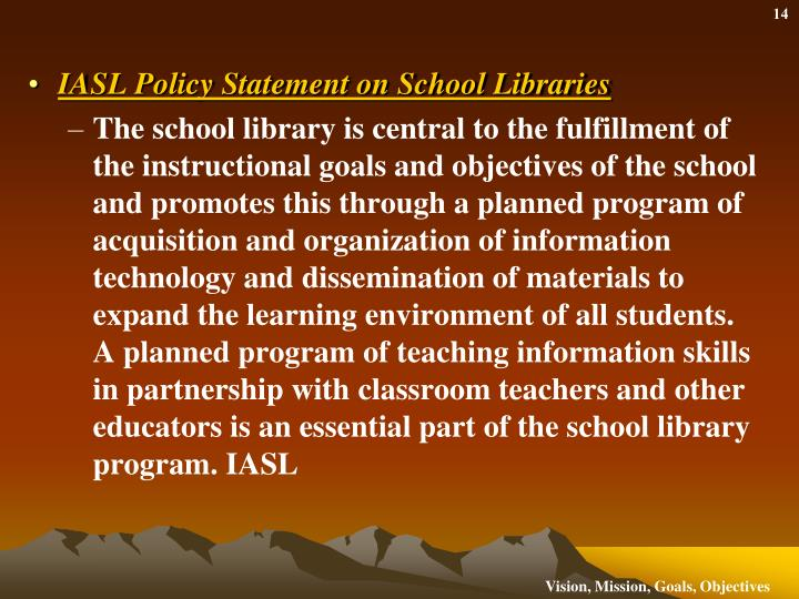 IASL Policy Statement on School Libraries