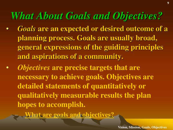 What About Goals and Objectives?