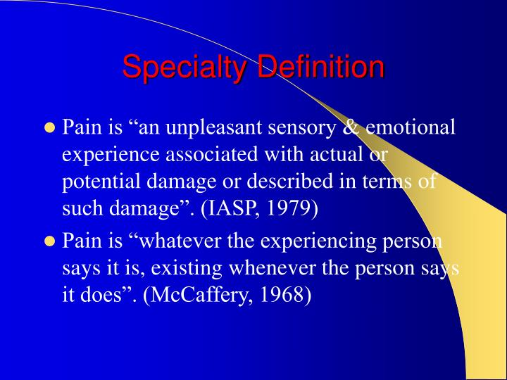 Specialty Definition