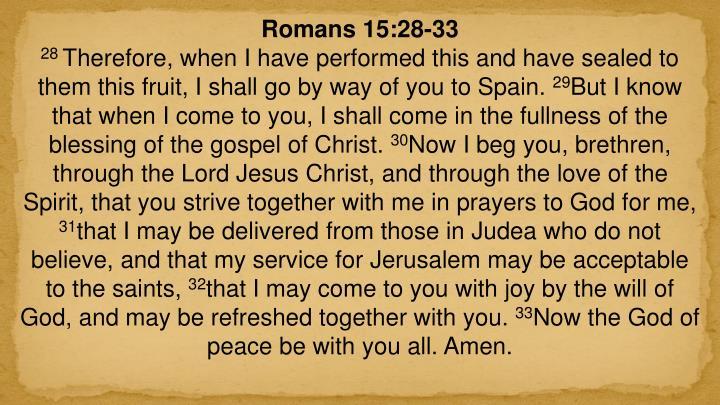 Romans 15:28-33