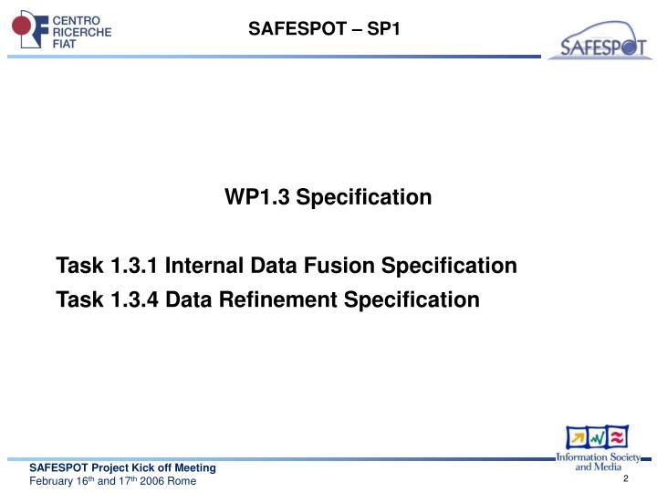 SAFESPOT – SP1